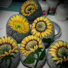 Work in progress #Rock Painting #sunflower