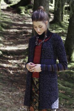 Oleana Norwegian Sweater Long, Knit Top, Wristlets, Silk & Merino Wool Made in Norway