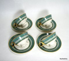 1930's Haviland Tea Cups and Saucers Set of 4