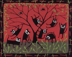 Black Cats Dancing ACEO Print - Whimsical Folk Art Animal Trading Card - Red and Green. $3.00, via Etsy.