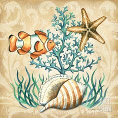 Sea Life III Art Print by Sydney Wright at Art.com