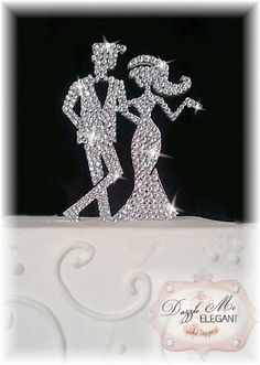 Chic Bride and Groom Crystal Cake Topper FREE SHIPPING. $45.99, via Etsy.