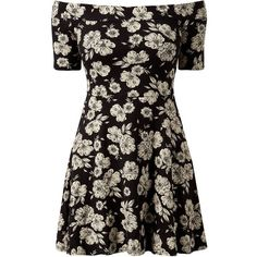 Black Floral Print Bardot Neck Skater Dress (75 DKK) ❤ liked on Polyvore featuring dresses, vestidos, short dresses, black, evening dresses, floral cocktail dresses, fit and flare cocktail dress, short-sleeve dresses and floral fit-and-flare dresses