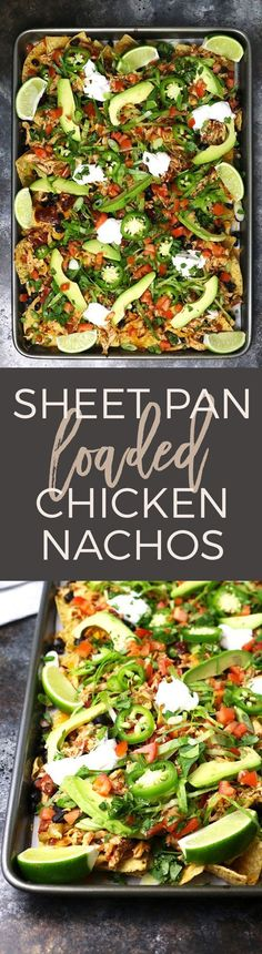 These sheet pan loaded chicken nachos are delicious AND easy to make! Make the slow cooker chicken the night before or the morning of to save time. This appetizer is the perfect game day food and it's also great for large holiday gatherings No dairy Quesadillas, Enchiladas, Mexican Food Recipes, Ethnic Recipes, Think Food, Comida Latina, Cooking Recipes, Healthy Recipes, Healthy Nachos