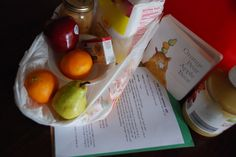 Baby (Toddler) Book Club Pals donation bag details including list of supplies and activity/snack instructions based on the book Orange, Pear, Apple, Bear by Emily Gravett.