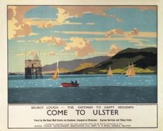 Irish Travel Railway Art Poster, Come To Ulster, Belfast Lough, Northern Ireland, County Anitrim