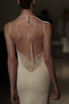 """Lennon"" Amsale Spring 2016 -  Fit to flare crepe gown with spaghetti straps and hand beading on low back."