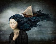 Ships, oceans, moons, butterflies! This guy paints my dreams!!! Christian Schloe