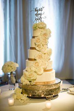favorite pittsburgh wedding photos, 5 tier wedding cake, floral wedding cake, best day ever cake topper, pittsburgh wedding photographers, carnegie music hall foyer