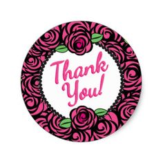 Pink Roses, Thank You Stickers
