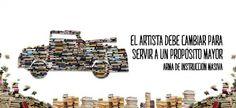 """L'artista argentino Raul Lemesoff trasforma una vecchia Ford Focus del 1979 in un'Arma de Instrucción Masiva. Una """"escultura andante"""" in grado di trasportare oltre 900 libri."""