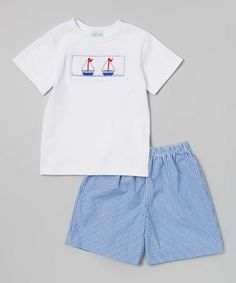 Look what I found on #zulily! Blue & White Sailboat Tee & Shorts - Infant, Toddler & Boys #zulilyfinds