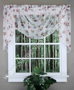 Brewster Lace curtain is an elegant all over floral pattern and embellished with a delightful printed array of scrolling garden flowers, high gauge lace is gently crushed for a classic, yet updated look.  #Lace #Valances
