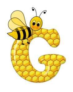 Alphabet letters bee on honeycomb. Alphabet Design, Monogram Alphabet, Alphabet And Numbers, Bee Crafts, Arts And Crafts, Scrapbook Letters, Cartoon Clip, Spelling Bee, Bee Party