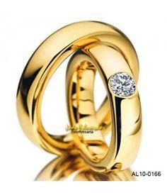 Par de alianças 5 mm de largura e 1 diamantes AL10-0166