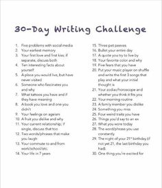 A 30-Day Writing Challenge