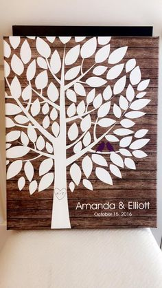 Rustic Wood Wedding Tree Canvas | Guest Book Alternative | 75 Signature Spaces | Rustic Wedding | Customer Photo | Wedding Color - Purple | peachwik.com