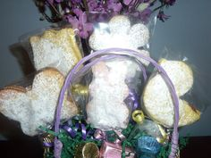 Easter Linzer Tart Cookie Basket with Easter Candy $20.00