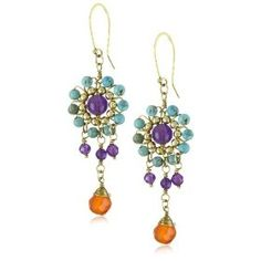 """Depyc """"Vintage Collection"""" Multi-Colored Stone Dangle Earrings.  List Price:$170.00  Get Discount 60% on Lisa Stewart Jewelry Collection.Check at http://clothingshop.me/branddetail.php?brand=Lisa%20Stewart%26pct-off=60-%26n=3367581"""