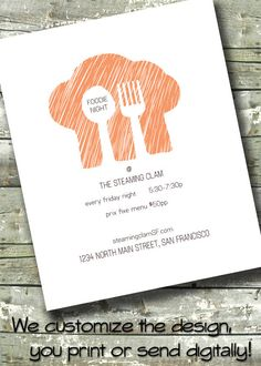 Restaurant Cooking Class Flyer ~ Foodie Party ~ Business Event ~ 5x7 Invite ~ 8.5x11 Flyer ~ 11x14 Poster ~ 300 dpi Digital Invitation by DitDitDigital on Etsy