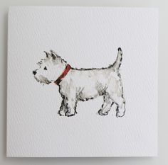 An adorable Jane Hogben watercolor sketch of a Westie reproduced on a greeting card The card is blank inside for you to write your own message and comes complete with an envelope. 10 cm x 10 cm West Highland Terrier, Westies, Animal Drawings, Art Drawings, White Terrier, Watercolor Sketch, White Dogs, Watercolor Animals, Dog Art