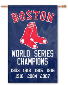 Take a look at this Boston Red Sox 'World Series Champions' Banner Flag by Party Animal on today! Chicago White Sox, Boston Red Sox, Cubs W, Red Sox World Series, Basketball Information, Mini Flags, Star Wars, Boston Sports, Baseball Party