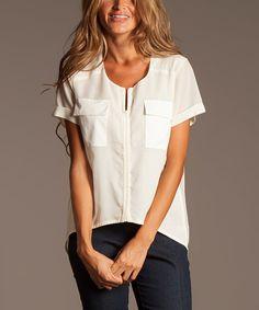 Loving this ravel White Silk-Blend Notch-Neck Top on #zulily! #zulilyfinds