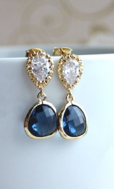 Items similar to Something Blue Earring Wedding Earring Navy Blue Sapphire Blue Earrings Wedding Jewelry Bridal Earring Bridesmaid Gift Blue and Gold Wedding on Etsy Bridal Accessories, Wedding Jewelry, Jewelry Box, Jewelry Accessories, Jewlery, Gold Earrings, Stone Earrings, Drop Earrings, Blue Sapphire