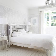 NEW! Bergerac White & Grey Upholstered Luxury Bed  |  French Beds  |  Beds & Mattresses  |  French Bedroom Company