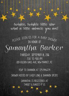 Twinkle Twinkle Little Star Baby Shower Invitation by WhitePlumInk