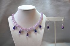 $69 Purple/Lavender Briolette Teardrop Crystal Sterling Silver Necklace and Earrings Set