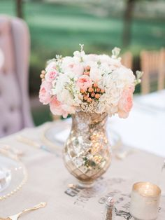 Blush and Silver Wedding Flowers | photography by http://rachel-solomon.com
