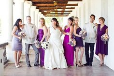 purple bridesmaid dresses in different shades and lengths