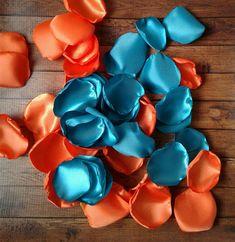 Orange and Teal Flower Girl Basket, My Flower, Orange Wedding, Wedding Colors, Rose Petals Wedding, Satin Roses, Orange Roses, Beautiful Roses, Table Centerpieces