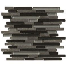 Bliss Black Timber Glass Stone Linear Blend Mosaic Tile