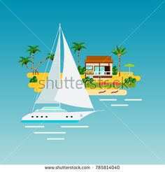 Stock Photo: Tropical island vacation composition with flat images of ocean yacht and sand island with palms and house illustration