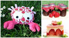Pluszak, rak, krab, zabawka, truskawki. Mała Wytwórnia - rękodzieło. Hand made