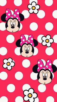 Minnie Mouse - Polka Dots & Flowers Wallpaper