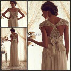 Wholesale Wedding Dresses - Buy Scoop Neckline Crystal Beading Bow Sash Chiffon Backless Column Cap Sleeves Sweep Train Wedding Dresses Bridal Gowns B629, $159.0 | DHgate