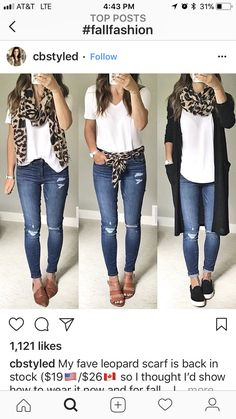 Mode Leopard scarf ideas Easy, simple ways to build up your child's brainpower Centuries ago, midwiv Work Casual, Casual Chic, Casual Looks, Mode Outfits, Casual Outfits, Fashion Outfits, Fashion Scarves, Look Fashion, Autumn Fashion