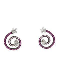 18K Diamond & Pink Sapphire Earrings