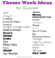 Frugal Summer Fun Ideas: Summer Theme Week Ideas.  Great list so we will never be bored!  Lots of ideas linked in the post as well.