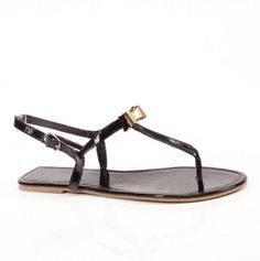 Bow Patent T-Strap Sandals