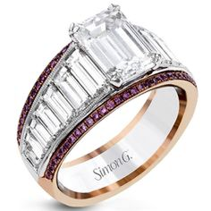 Simon G. White and rose gold large center emerald cut diamond baguette engagement ring