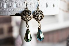 Green Jewel Drops & Flowers Earrings by adairya2 on Etsy, $8.00