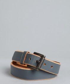 Original Penguin flint stone leather raw edge square buckle belt   BLUEFLY