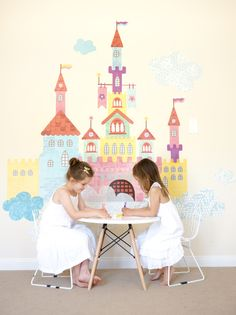 Castle Wall Decals from@popandlolli - perfect, whimsical wall decor in a girls bedroom or playroom!