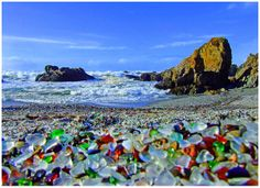 """From man's destructiveness, God cleaned up after him via the ocean's waves....""""Glass Beach"""" is a beach in MacKerricher State Park near Fort Bragg, California. It is abundant in sea glass created from years of dumping garbage into an area of coastline near the northern part of the town."""