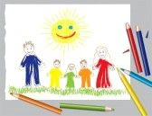 crayon drawing : vector illustration of happy family and the sun