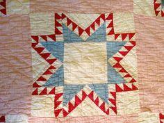 Detail, Antique Vintage Quilt Star Design Pink Red Blue Vintage 64 x 78 Hand Sewn | eBay, bateman1954